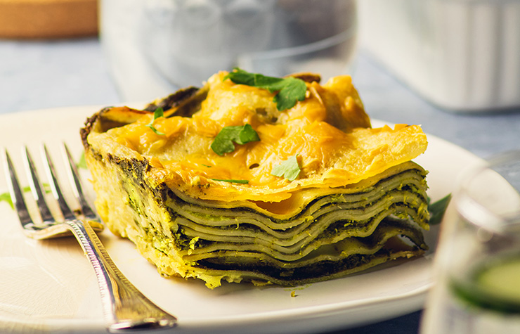 Vegan Green Kale Lasagne showing layers