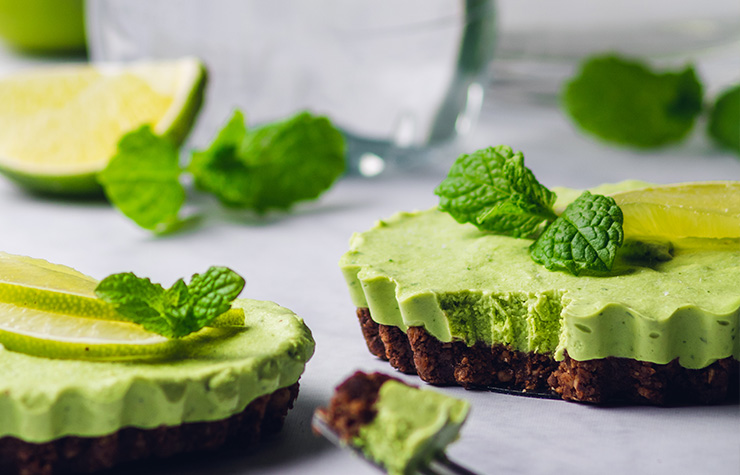 delicious vegan mint chocolate cheesecake with lime